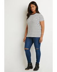Forever 21 | Black Contrast-trim Striped Tee | Lyst