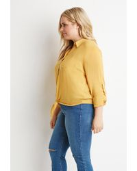 Forever 21 - Yellow Plus Size Self-tie Front Shirt - Lyst