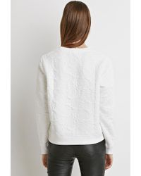 Forever 21 - Natural Textured Floral-pattern Sweater - Lyst
