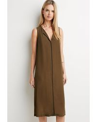 Forever 21 | Green Contemporary Longline Contrast-trim Tunic | Lyst