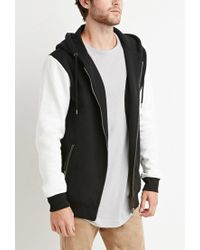 Forever 21 | Black Zippered Colorblock Hoodie for Men | Lyst