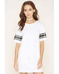 Forever 21 | White Varsity-striped T-shirt Dress | Lyst