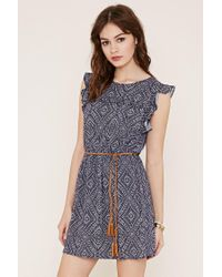 Forever 21   Blue Belted Abstract Print Dress   Lyst