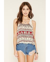 Forever 21   Natural Abstract Crochet-trim Crop Top   Lyst