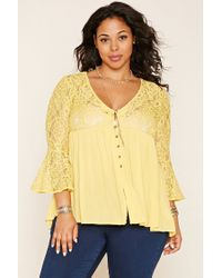 Forever 21   Yellow Plus Size Bell-sleeve Lace Top   Lyst