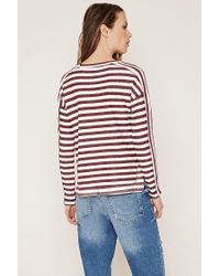 Forever 21 | Purple Contemporary Striped Reverse French Terry Top | Lyst