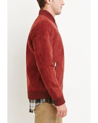 Forever 21 - Red Faux Suede Bomber Jacket for Men - Lyst