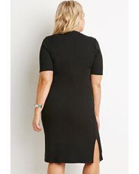 Forever 21 | Black Plus Size Side-slit Midi Dress | Lyst