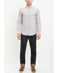 Forever 21 - Gray Chambray-patched Pocket Shirt for Men - Lyst