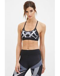 Forever 21 | Black Low Impact - Abstract Print Sports Bra | Lyst
