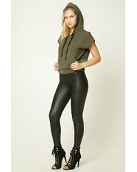 Forever 21 | Green Contemporary Drawstring Hood Top | Lyst
