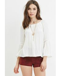 Forever 21 | Natural Crochet-trimmed Peasant Top | Lyst