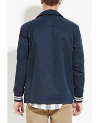 Forever 21 - Blue Varsity-stripe Buttoned Jacket for Men - Lyst