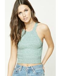 Forever 21 | Blue Marled Knit Cropped Cami | Lyst