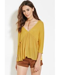 Forever 21 | Metallic Contemporary Chiffon-paneled Top | Lyst