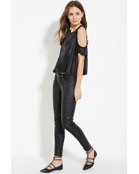 Forever 21 - Black Contemporary Open-shoulder Satin Top - Lyst