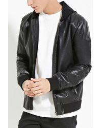 Forever 21 | Black Faux Leather Bomber Jacket for Men | Lyst