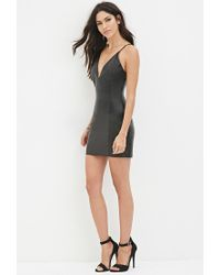Forever 21 - Black V-neck Faux Leather Dress - Lyst