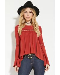 Forever 21 - Brown Crinkled Crochet-paneled Top - Lyst