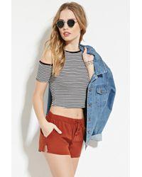 Forever 21 | Brown Linen-blend Drawstring Shorts | Lyst