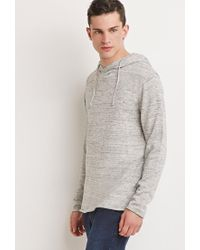 Forever 21 | Natural Marled Knit Drawstring Hoodie for Men | Lyst