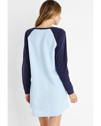 Forever 21 - Blue Fleece Baseball Nightdress - Lyst