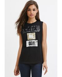 Forever 21 | Black Sequin Graphic Muscle Tee | Lyst