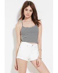 Forever 21 | White High Rise Cuffed Denim Shorts | Lyst