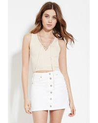 Forever 21 | Natural Lace-up Knit Top | Lyst