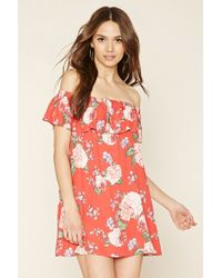 Lyst - Forever 21 Off-the-shoulder Floral Dress in Red c687a378bdbe
