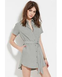 Forever 21 | Green Belted Shirt Dress | Lyst