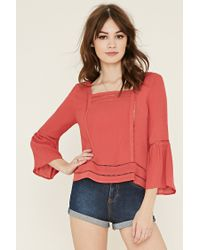 Forever 21   Red Ladder-cutout Gauze Blouse   Lyst