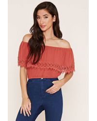 Forever 21   Red Crochet Off-the-shoulder Top   Lyst