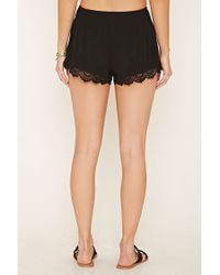 Forever 21 - Black Crochet Smocked Shorts - Lyst