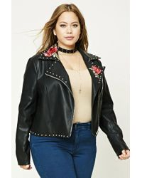 Forever 21 | Black Plus Size Floral Moto Jacket | Lyst