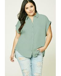 Forever 21 | Green Plus Size High-low Shirt | Lyst