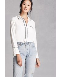 Forever 21 | White Contrast-trimmed Collared Shirt | Lyst