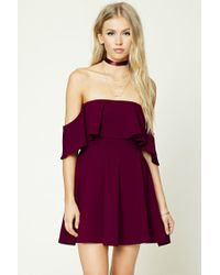 6db73215876f Lyst - Forever 21 Off-the-shoulder Flounce Dress in Purple