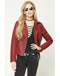 Forever 21 | Red Faux Leather Moto Jacket | Lyst