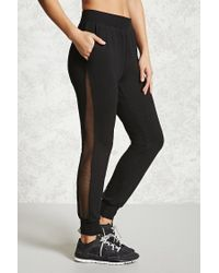 Forever 21 | Black Active Mesh-paneled Joggers | Lyst