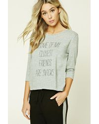 Forever 21   Gray Snack Food Graphic Pj Set   Lyst