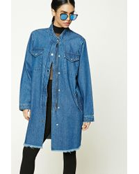 Forever 21 | Blue Longline Denim Buttoned Jacket | Lyst