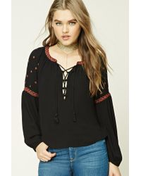 Forever 21 | Black Embroidered Lace-up Peasant Top | Lyst