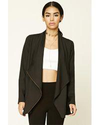 Forever 21 | Black Asymmetrical Cowl Neck Jacket | Lyst