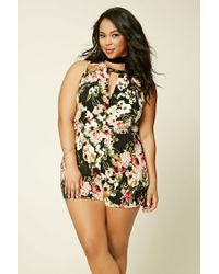 10671612286 Lyst - Forever 21 Plus Size Floral Print Romper in Black