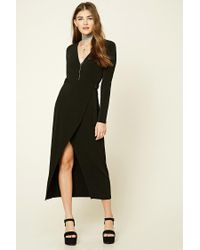 Forever 21 | Black Wrap Front Maxi Dress | Lyst