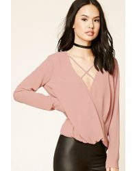 Forever 21 | Pink Surplice Front Top | Lyst