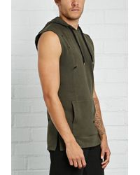 Forever 21 - Blue Distressed Sleeveless Hoodie for Men - Lyst