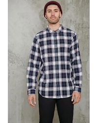 Forever 21 | Blue Fitted Plaid Flannel Shirt for Men | Lyst