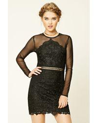 Forever 21 | Black Semi-sheer Crochet Lace Dress | Lyst